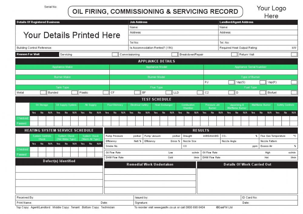 Personalised Oil Firing Commissioning Amp Servicing Record